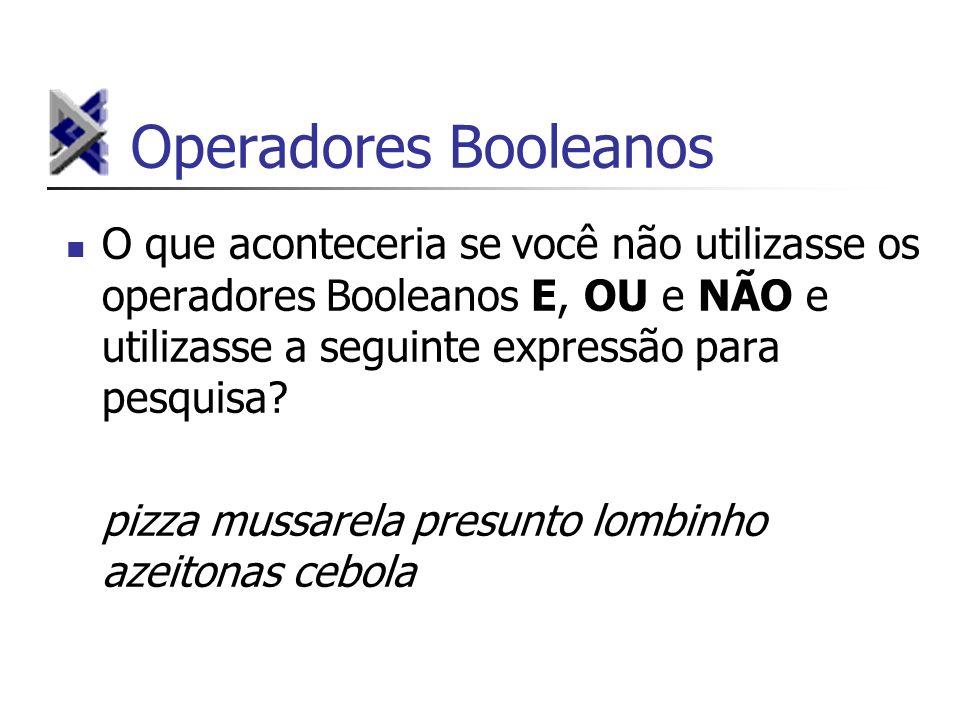 Operadores Booleanos O que aconteceria se você não utilizasse os operadores Booleanos E, OU e NÃO e utilizasse a seguinte expressão para pesquisa? piz