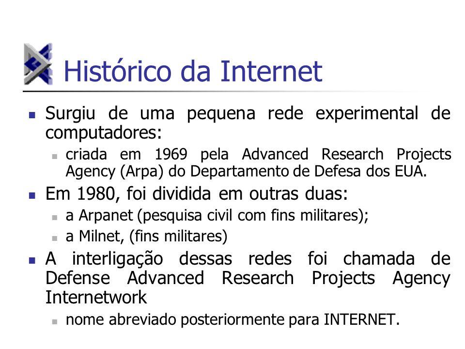 Histórico da Internet Surgiu de uma pequena rede experimental de computadores: criada em 1969 pela Advanced Research Projects Agency (Arpa) do Departa