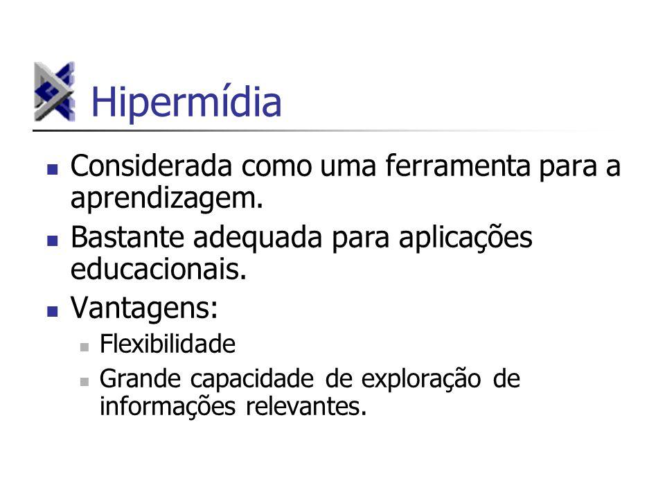 Hipermídia Considerada como uma ferramenta para a aprendizagem. Bastante adequada para aplicações educacionais. Vantagens: Flexibilidade Grande capaci