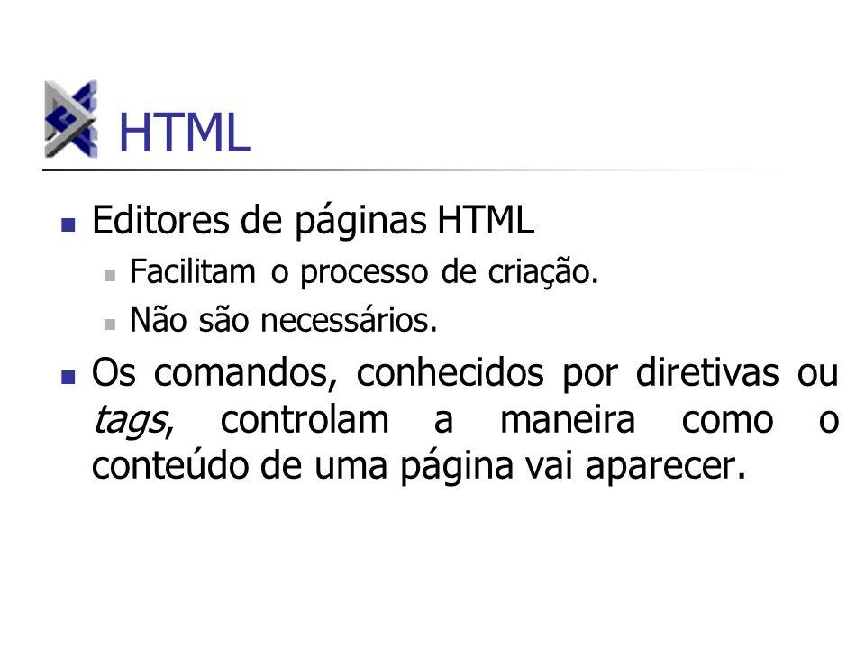 HTML Editores de páginas HTML Facilitam o processo de criação. Não são necessários. Os comandos, conhecidos por diretivas ou tags, controlam a maneira