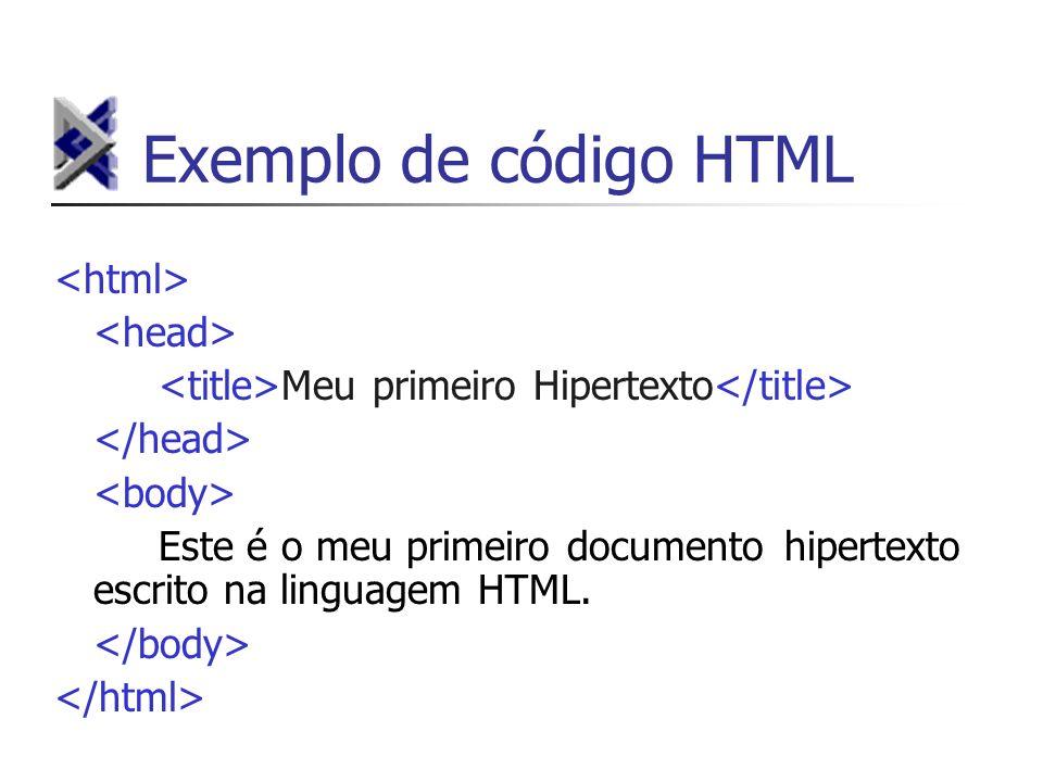 Exemplo de código HTML Meu primeiro Hipertexto Este é o meu primeiro documento hipertexto escrito na linguagem HTML.