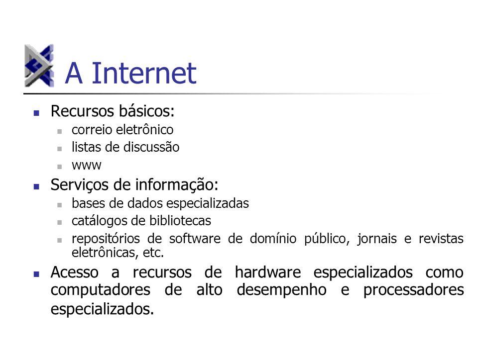 A Internet Recursos básicos: correio eletrônico listas de discussão www Serviços de informação: bases de dados especializadas catálogos de bibliotecas