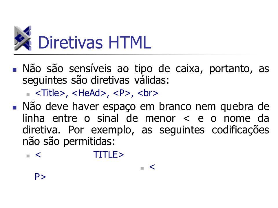 Diretivas HTML Não são sensíveis ao tipo de caixa, portanto, as seguintes são diretivas válidas:,,, Não deve haver espaço em branco nem quebra de linh