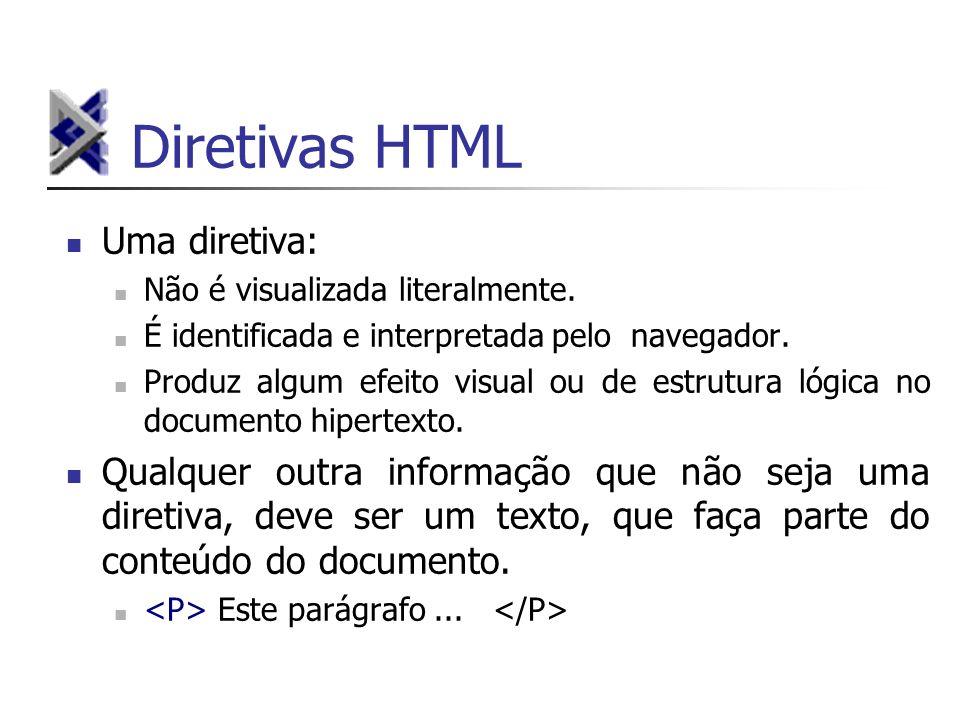 Diretivas HTML Uma diretiva: Não é visualizada literalmente. É identificada e interpretada pelo navegador. Produz algum efeito visual ou de estrutura