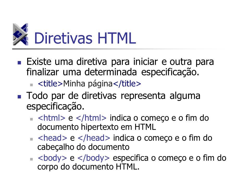 Diretivas HTML Existe uma diretiva para iniciar e outra para finalizar uma determinada especificação. Minha página Todo par de diretivas representa al