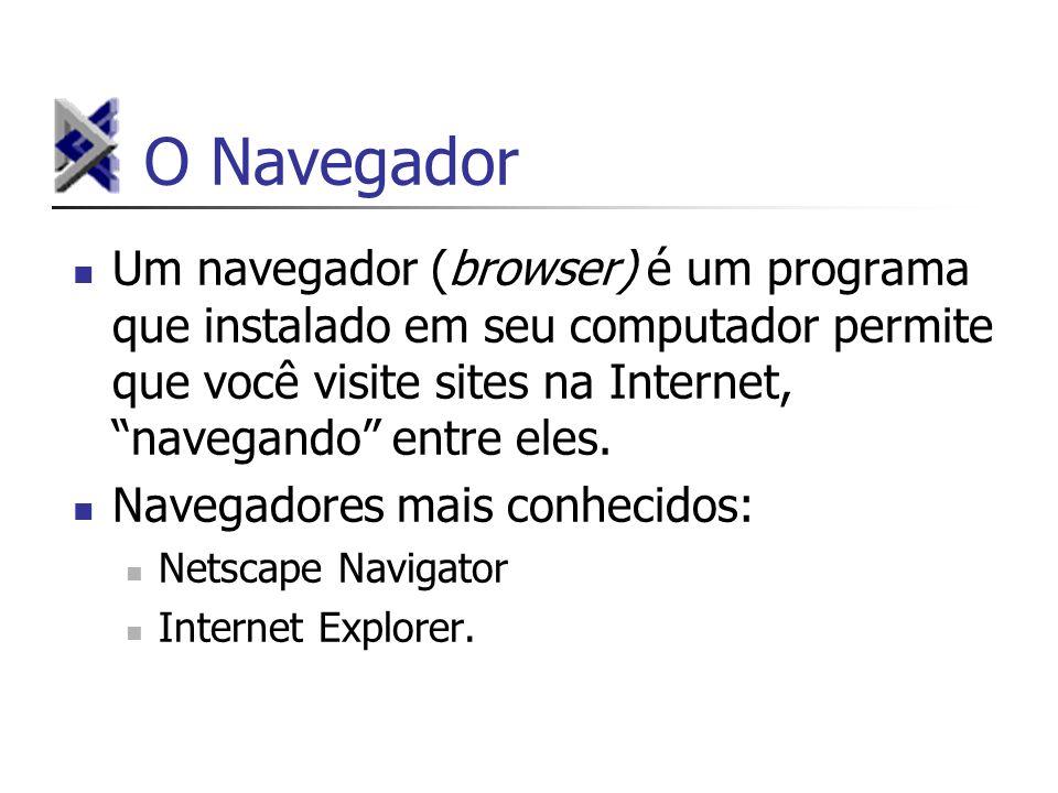 O Navegador Um navegador (browser) é um programa que instalado em seu computador permite que você visite sites na Internet, navegando entre eles. Nave