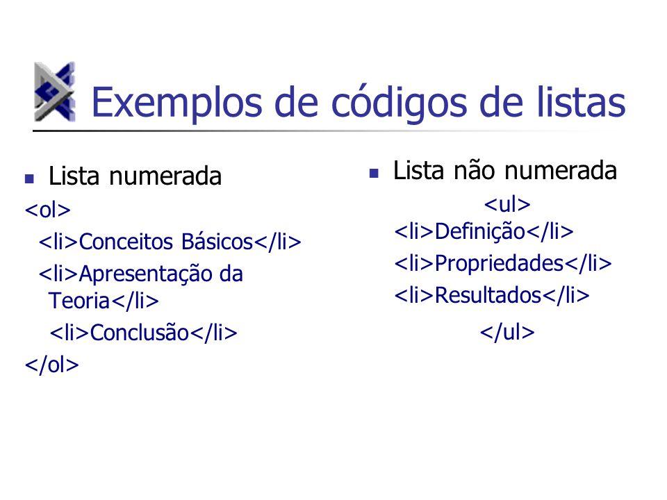 Exemplos de códigos de listas Lista numerada Conceitos Básicos Apresentação da Teoria Conclusão Lista não numerada Definição Propriedades Resultados