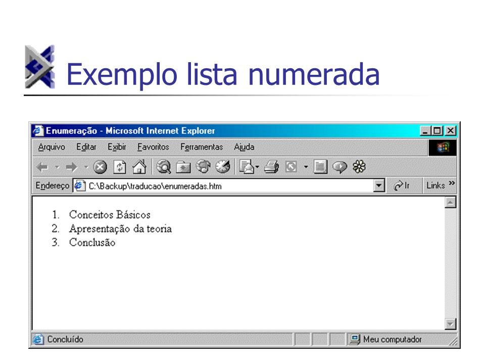 Exemplo lista numerada