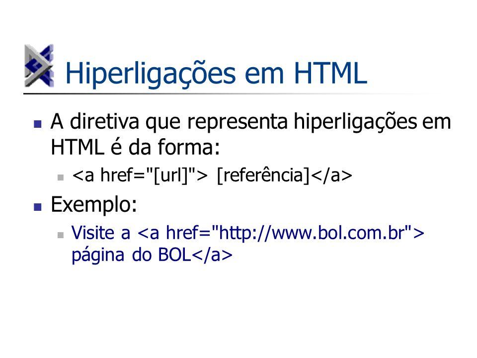 Hiperligações em HTML A diretiva que representa hiperligações em HTML é da forma: [referência] Exemplo: Visite a página do BOL