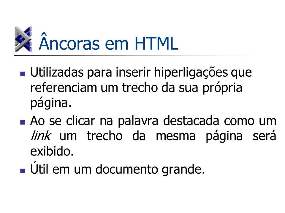 Âncoras em HTML Utilizadas para inserir hiperligações que referenciam um trecho da sua própria página. Ao se clicar na palavra destacada como um link