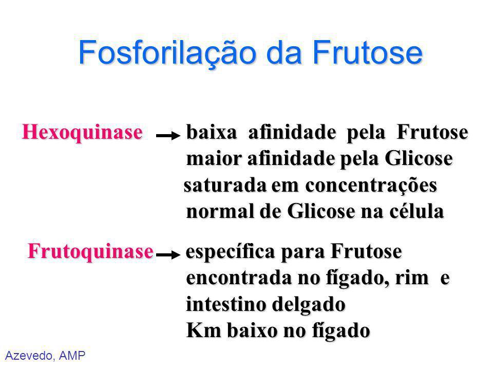 Azevedo, AMP Fosforilação da Frutose Hexoquinase baixa afinidade pela Frutose maior afinidade pela Glicose saturada em concentrações normal de Glicose