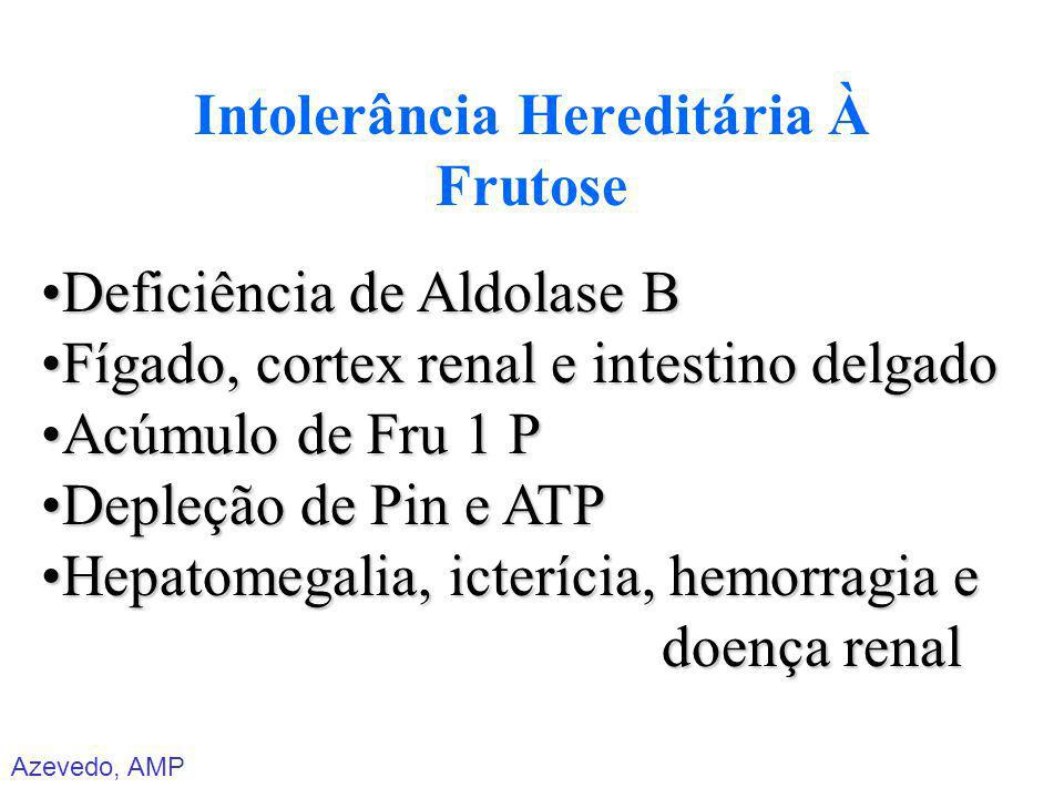 Azevedo, AMP Intolerância Hereditária À Frutose Deficiência de Aldolase BDeficiência de Aldolase B Fígado, cortex renal e intestino delgadoFígado, cor