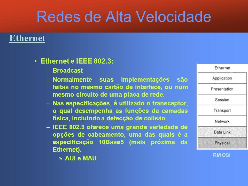 Redes de Alta Velocidade Ethernet Ethernet e IEEE 802.3: –Broadcast –Normalmente suas implementações são feitas no mesmo cartão de interface, ou num m