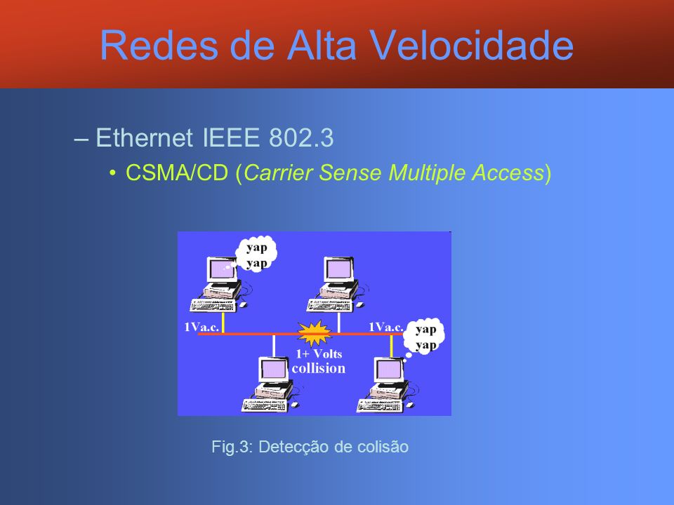 Redes de Alta Velocidade –Ethernet IEEE 802.3 CSMA/CD (Carrier Sense Multiple Access) Fig.3: Detecção de colisão
