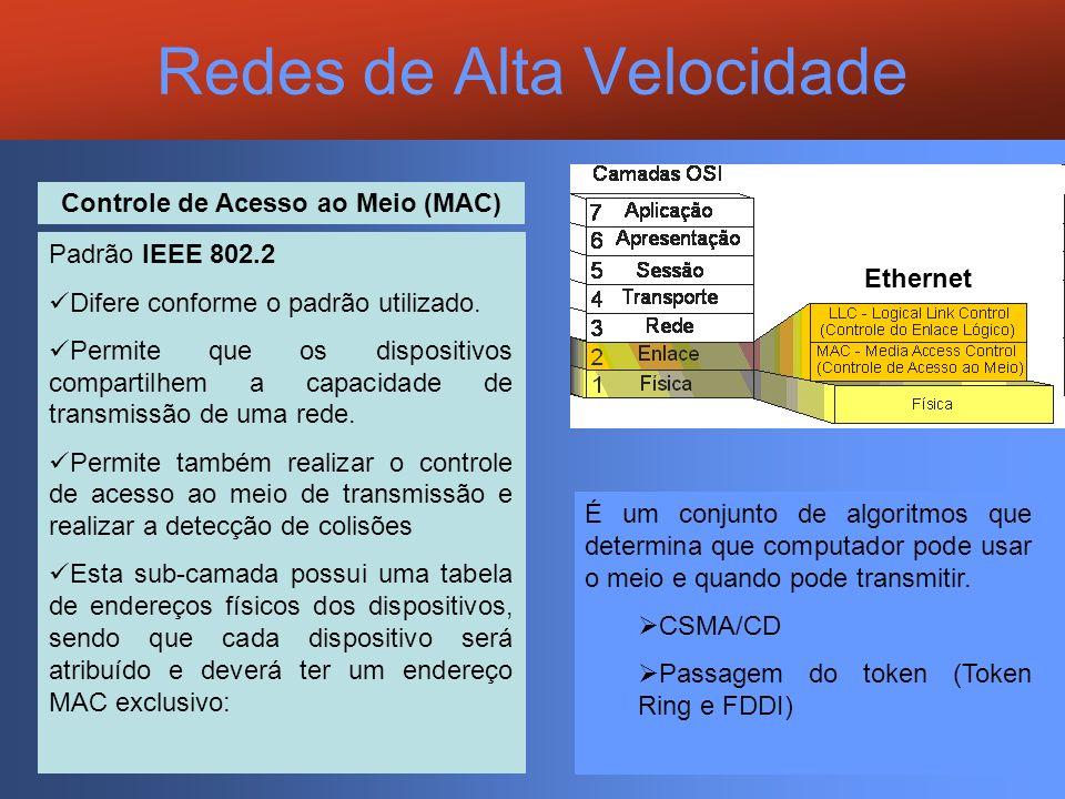 Redes de Alta Velocidade Ethernet Controle de Acesso ao Meio (MAC) Padrão IEEE 802.2 Difere conforme o padrão utilizado. Permite que os dispositivos c
