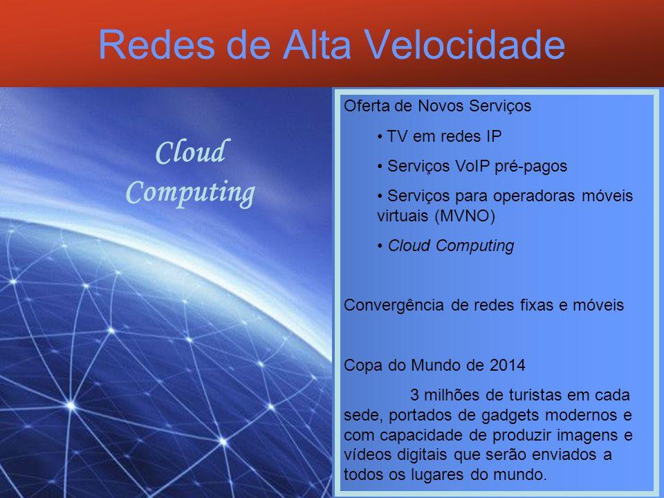 Redes de Alta Velocidade A Escolha do Brasil como país sede da copa de 2014 exigirá: - Capacidade de escoamento do gigantesco tráfego de dados, - Taxas de 1 a 10 Gbps - Capacidade de transmissão no formato HDTV - Uso de tecnologias não proprietárias - Uso do Protocolo IP