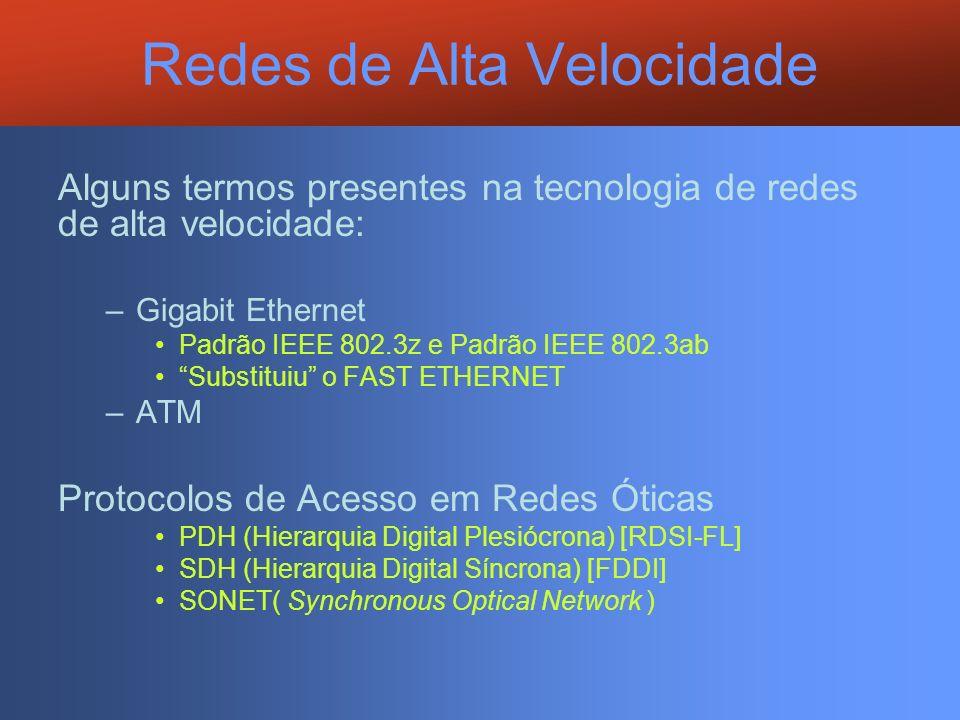 Redes de Alta Velocidade Alguns termos presentes na tecnologia de redes de alta velocidade: –Gigabit Ethernet Padrão IEEE 802.3z e Padrão IEEE 802.3ab