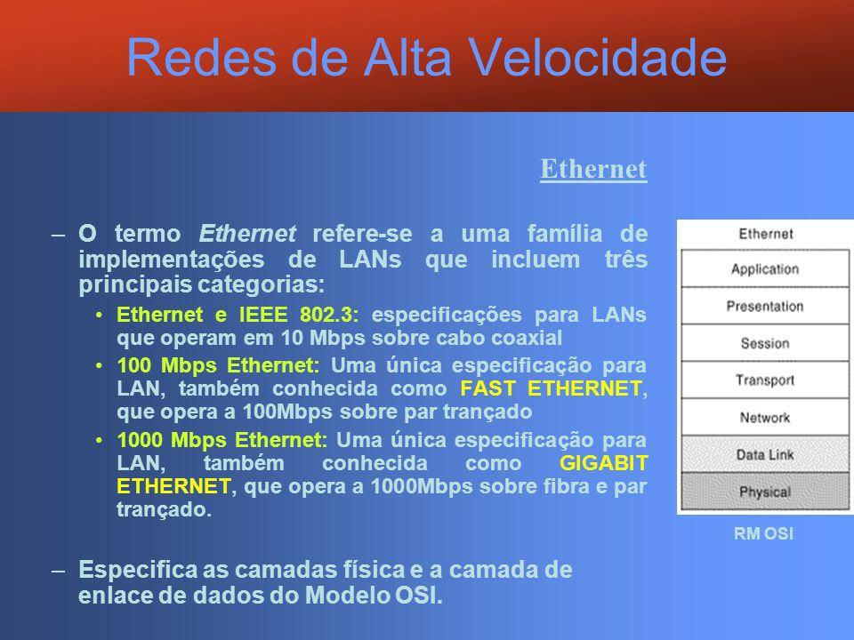 Redes de Alta Velocidade Ethernet –O termo Ethernet refere-se a uma família de implementações de LANs que incluem três principais categorias: Ethernet