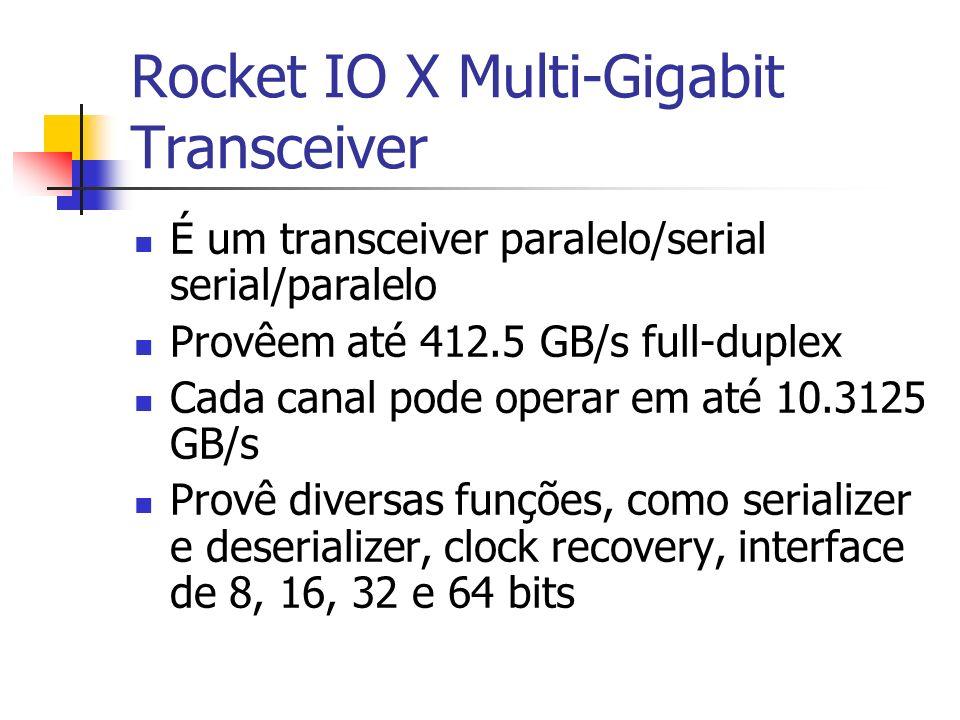 Rocket IO X Multi-Gigabit Transceiver É um transceiver paralelo/serial serial/paralelo Provêem até 412.5 GB/s full-duplex Cada canal pode operar em at