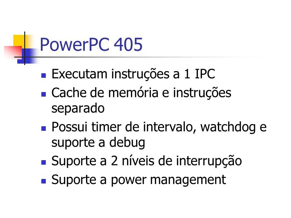 PowerPC 405 Executam instruções a 1 IPC Cache de memória e instruções separado Possui timer de intervalo, watchdog e suporte a debug Suporte a 2 nívei