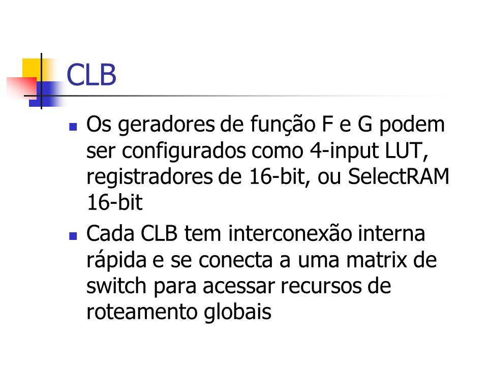 CLB Os geradores de função F e G podem ser configurados como 4-input LUT, registradores de 16-bit, ou SelectRAM 16-bit Cada CLB tem interconexão inter