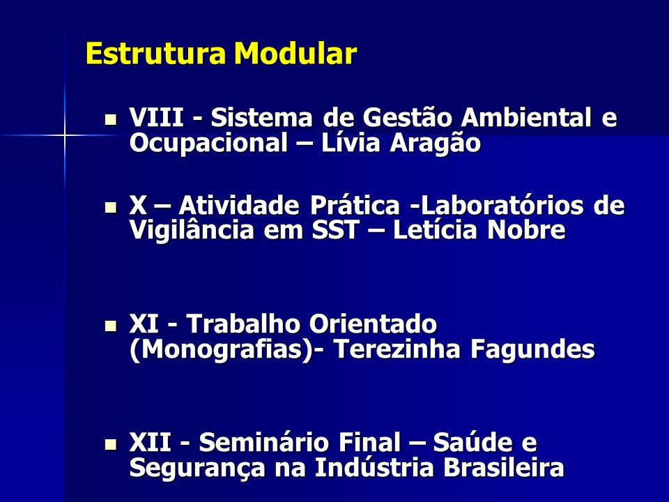 Estrutura Modular VIII - Sistema de Gestão Ambiental e Ocupacional – Lívia Aragão VIII - Sistema de Gestão Ambiental e Ocupacional – Lívia Aragão X –
