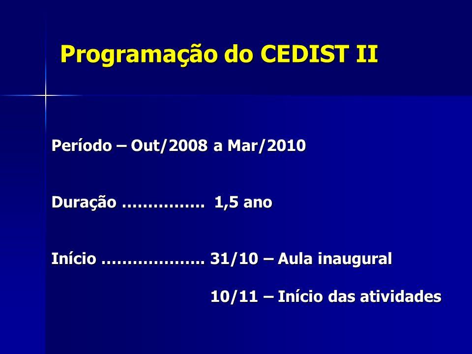 Programação do CEDIST II Período – Out/2008 a Mar/2010 Duração ……………. 1,5 ano Início ……………….. 31/10 – Aula inaugural 10/11 – Início das atividades 10/