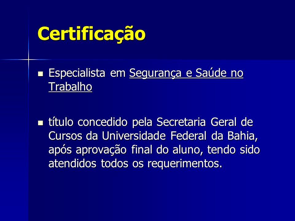 Certificação Especialista em Segurança e Saúde no Trabalho Especialista em Segurança e Saúde no Trabalho título concedido pela Secretaria Geral de Cur