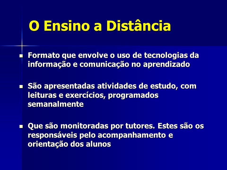 O Ensino a Distância Requer: Requer: –Capacidade de concentração –Autonomia na aprendizagem –Disciplina e organização –Familiaridade com o uso do computador