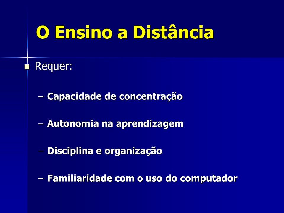 O Ensino a Distância Requer: Requer: –Capacidade de concentração –Autonomia na aprendizagem –Disciplina e organização –Familiaridade com o uso do comp