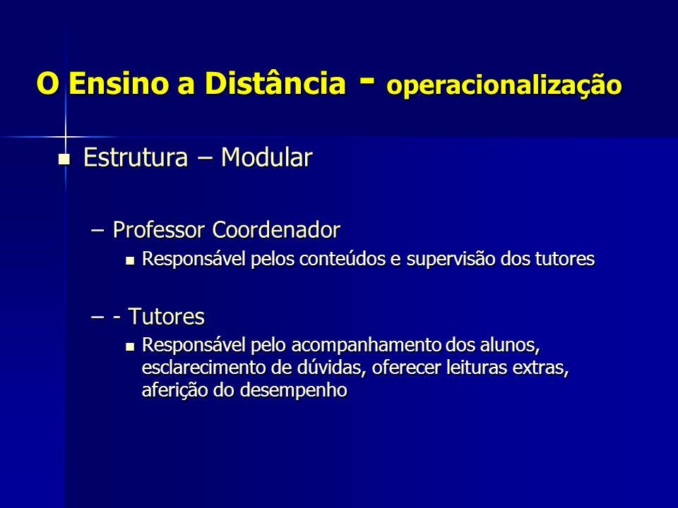 O Ensino a Distância - operacionalização Estrutura – Modular Estrutura – Modular –Professor Coordenador Responsável pelos conteúdos e supervisão dos t