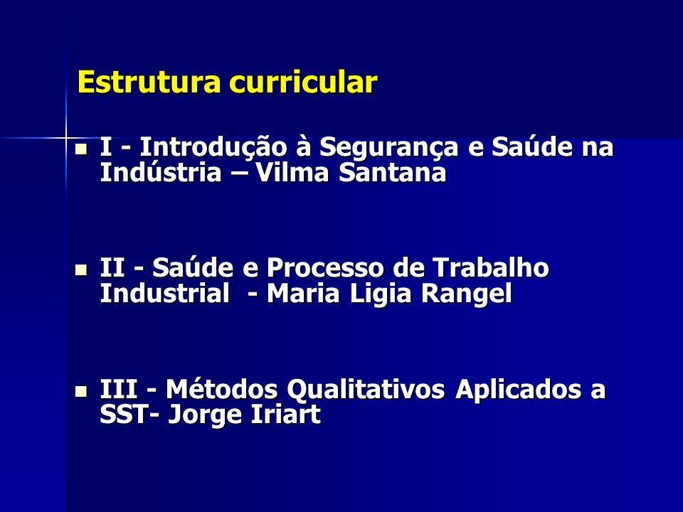 Estrutura curricular Estrutura curricular I - Introdução à Segurança e Saúde na Indústria – Vilma Santana I - Introdução à Segurança e Saúde na Indúst