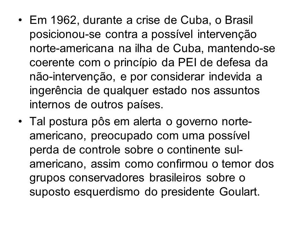 Em 1962, durante a crise de Cuba, o Brasil posicionou-se contra a possível intervenção norte-americana na ilha de Cuba, mantendo-se coerente com o pri