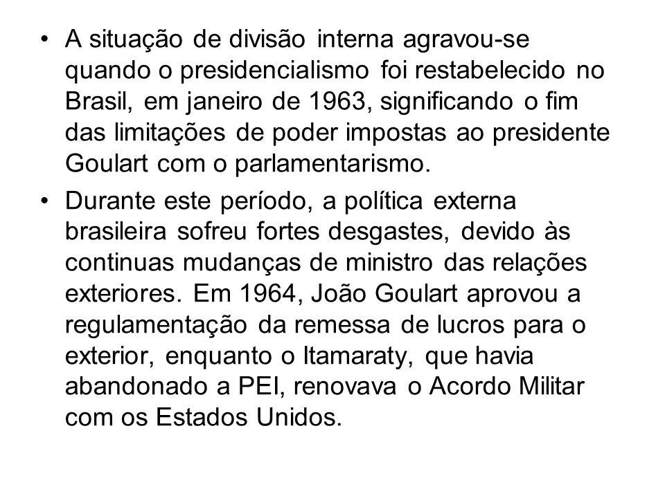 A situação de divisão interna agravou-se quando o presidencialismo foi restabelecido no Brasil, em janeiro de 1963, significando o fim das limitações