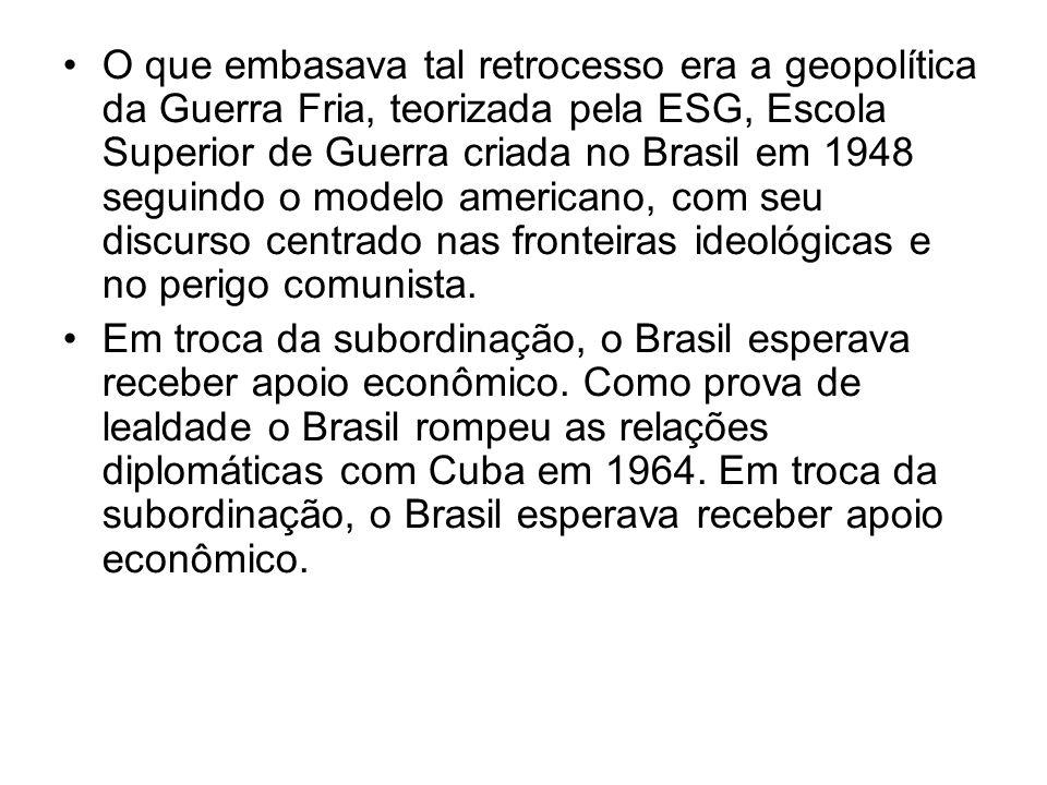 O que embasava tal retrocesso era a geopolítica da Guerra Fria, teorizada pela ESG, Escola Superior de Guerra criada no Brasil em 1948 seguindo o mode
