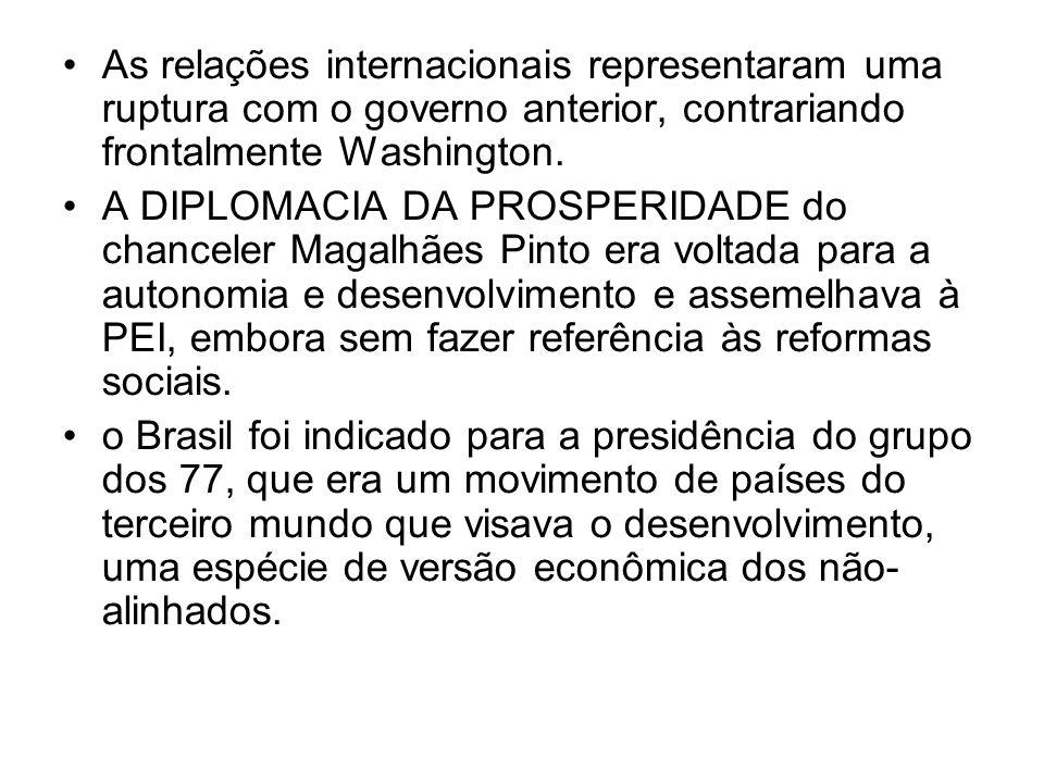 As relações internacionais representaram uma ruptura com o governo anterior, contrariando frontalmente Washington. A DIPLOMACIA DA PROSPERIDADE do cha