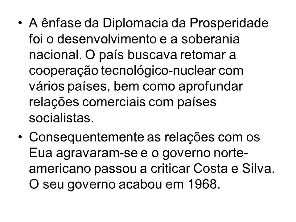 A ênfase da Diplomacia da Prosperidade foi o desenvolvimento e a soberania nacional. O país buscava retomar a cooperação tecnológico-nuclear com vário
