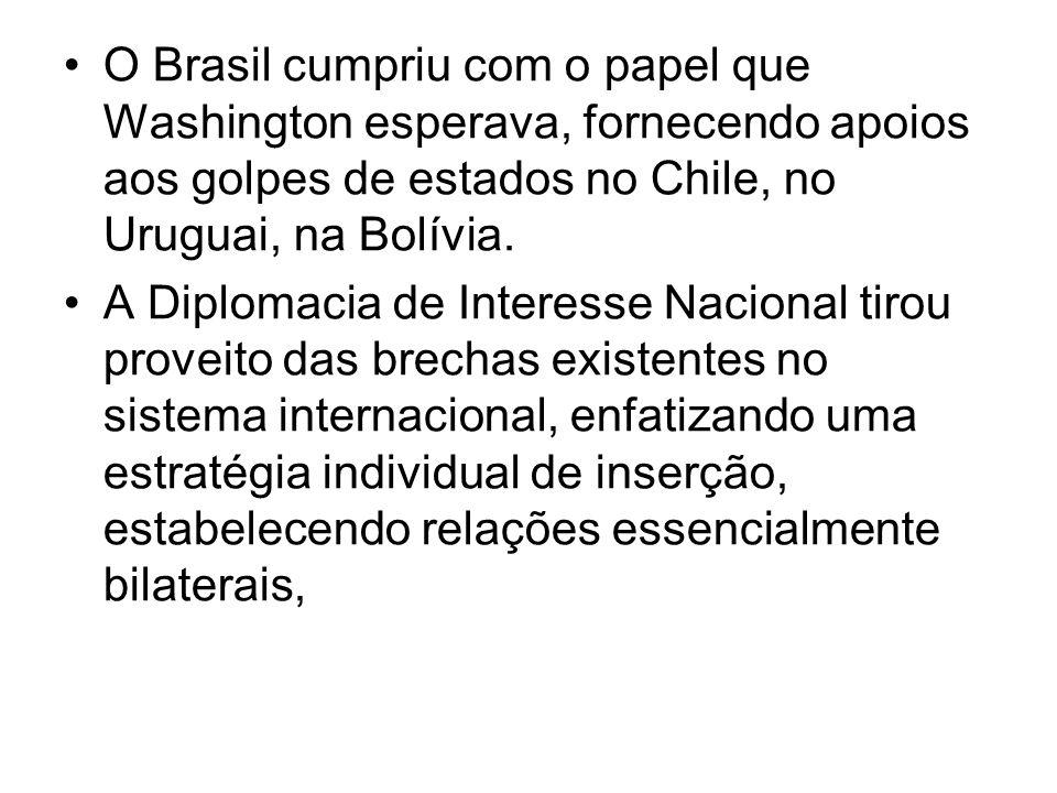 O Brasil cumpriu com o papel que Washington esperava, fornecendo apoios aos golpes de estados no Chile, no Uruguai, na Bolívia. A Diplomacia de Intere