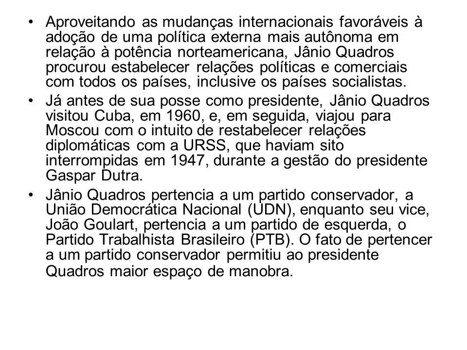 Aproveitando as mudanças internacionais favoráveis à adoção de uma política externa mais autônoma em relação à potência norteamericana, Jânio Quadros