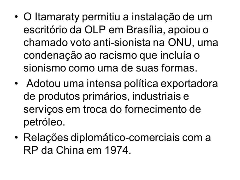 O Itamaraty permitiu a instalação de um escritório da OLP em Brasília, apoiou o chamado voto anti-sionista na ONU, uma condenação ao racismo que inclu