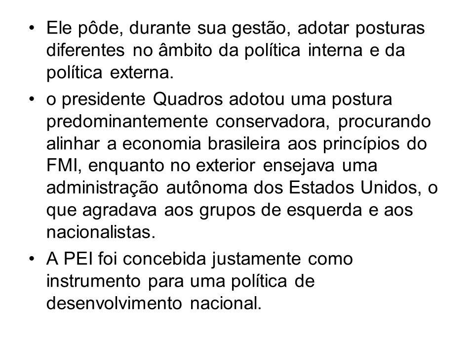 Em 1962, durante a crise de Cuba, o Brasil posicionou-se contra a possível intervenção norte-americana na ilha de Cuba, mantendo-se coerente com o princípio da PEI de defesa da não-intervenção, e por considerar indevida a ingerência de qualquer estado nos assuntos internos de outros países.