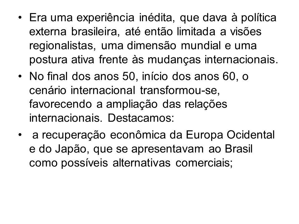 Era uma experiência inédita, que dava à política externa brasileira, até então limitada a visões regionalistas, uma dimensão mundial e uma postura ati