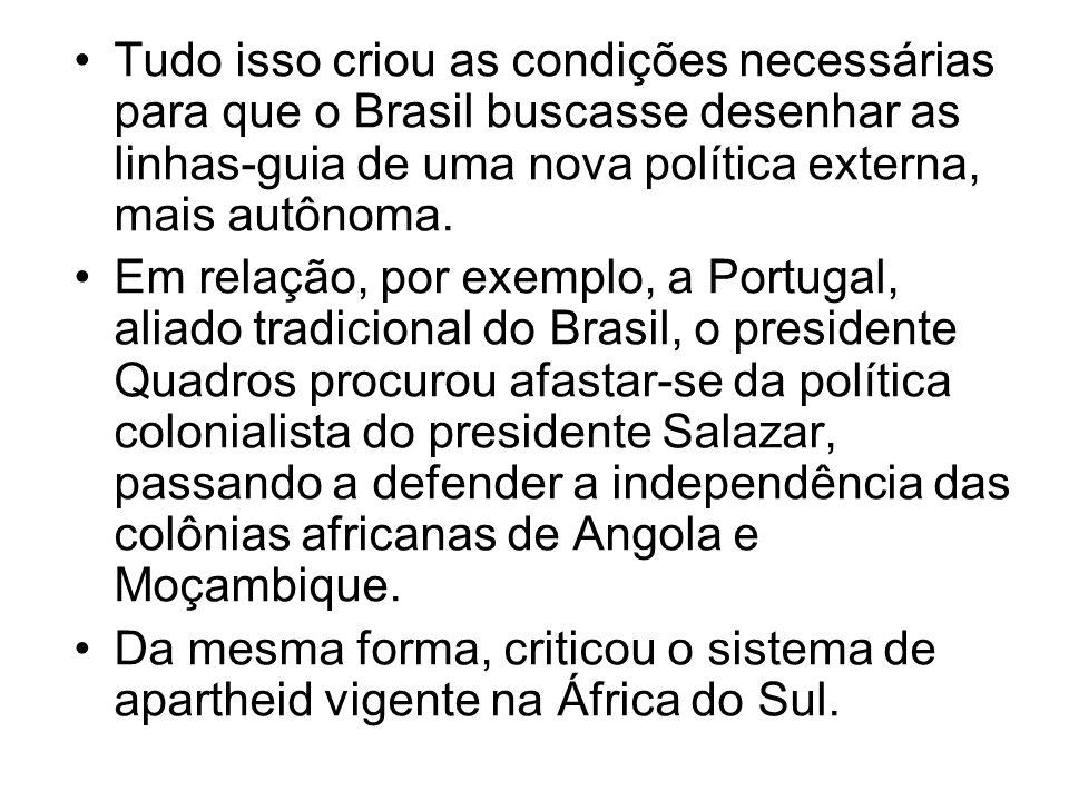 Tudo isso criou as condições necessárias para que o Brasil buscasse desenhar as linhas-guia de uma nova política externa, mais autônoma. Em relação, p
