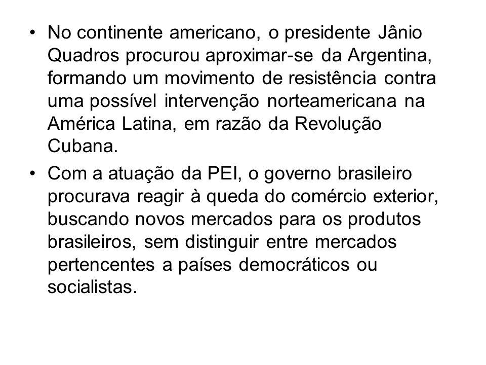 No continente americano, o presidente Jânio Quadros procurou aproximar-se da Argentina, formando um movimento de resistência contra uma possível inter