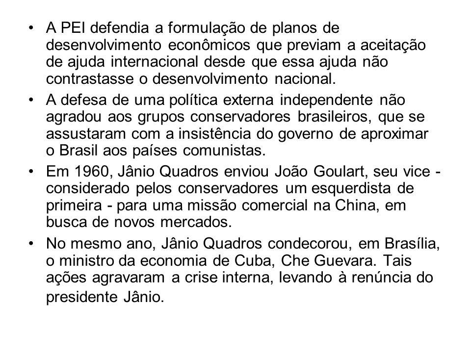 A Política Externa Independente no governo de João Goulart Jânio Quadros anunciou a renúncia ao cargo de presidente com o intuito de aumentar seus poderes, esperando que tal ato não fosse aceito.