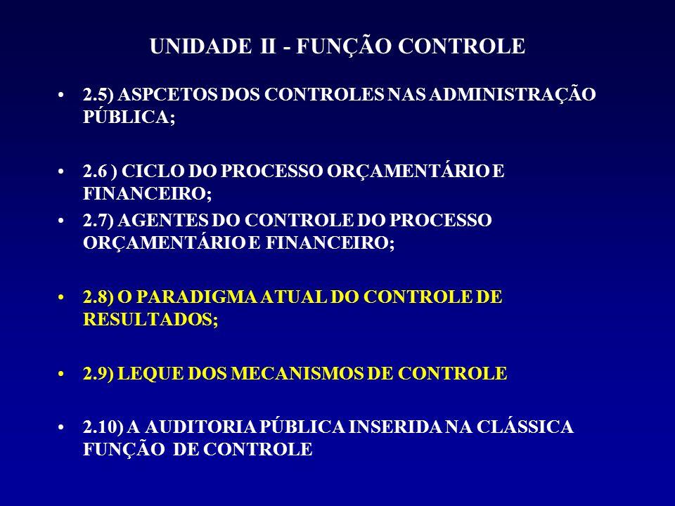 UNIDADE II - FUNÇÃO CONTROLE 2.5) ASPCETOS DOS CONTROLES NAS ADMINISTRAÇÃO PÚBLICA; 2.6 ) CICLO DO PROCESSO ORÇAMENTÁRIO E FINANCEIRO; 2.7) AGENTES DO