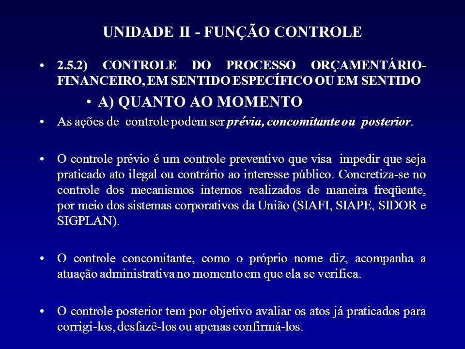 UNIDADE II - FUNÇÃO CONTROLE 2.5.2) CONTROLE DO PROCESSO ORÇAMENTÁRIO- FINANCEIRO, EM SENTIDO ESPECÍFICO OU EM SENTIDO A) QUANTO AO MOMENTO As ações d