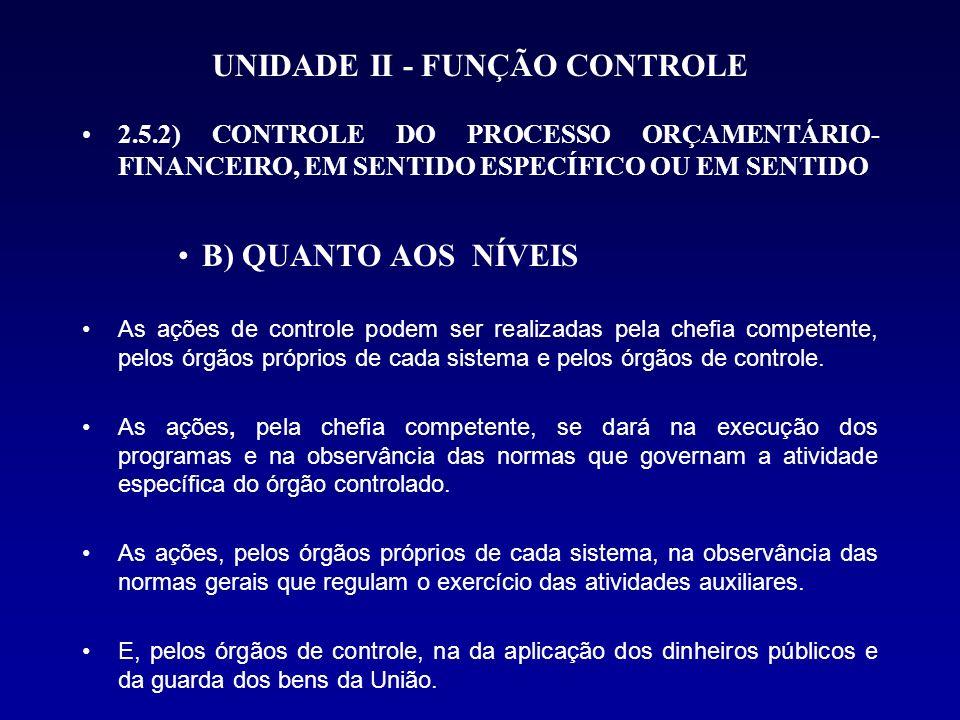 UNIDADE II - FUNÇÃO CONTROLE 2.5.2) CONTROLE DO PROCESSO ORÇAMENTÁRIO- FINANCEIRO, EM SENTIDO ESPECÍFICO OU EM SENTIDO B) QUANTO AOS NÍVEIS As ações d