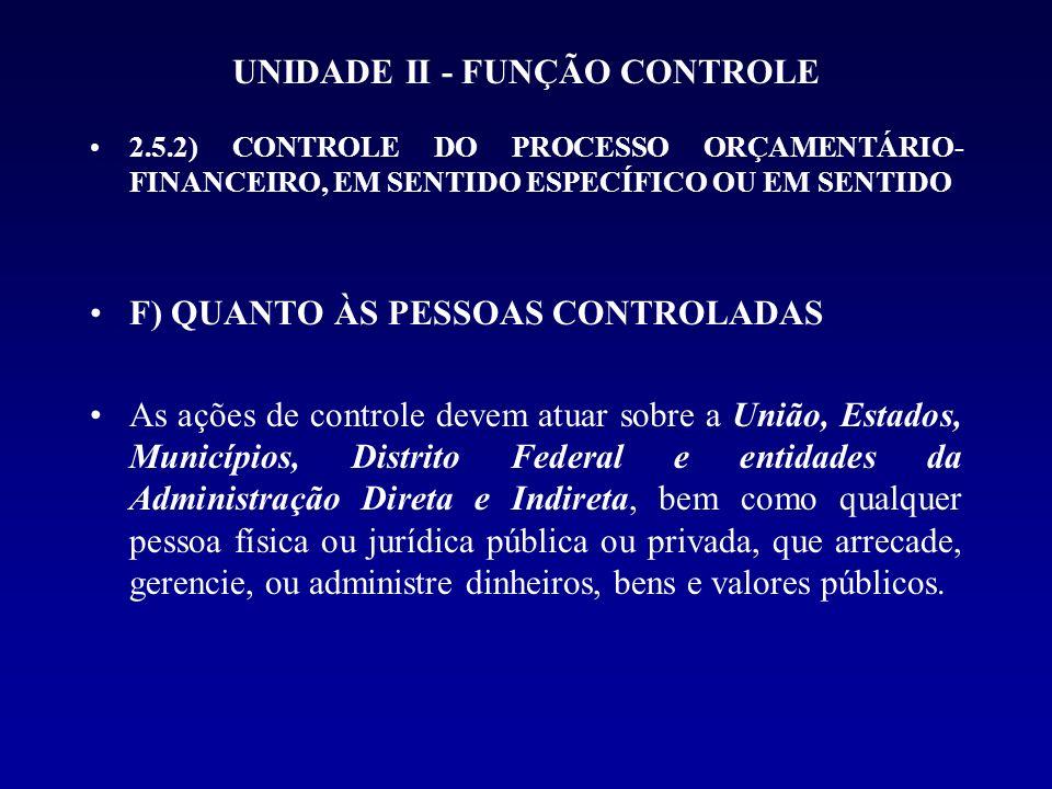 UNIDADE II - FUNÇÃO CONTROLE 2.5.2) CONTROLE DO PROCESSO ORÇAMENTÁRIO- FINANCEIRO, EM SENTIDO ESPECÍFICO OU EM SENTIDO F) QUANTO ÀS PESSOAS CONTROLADA