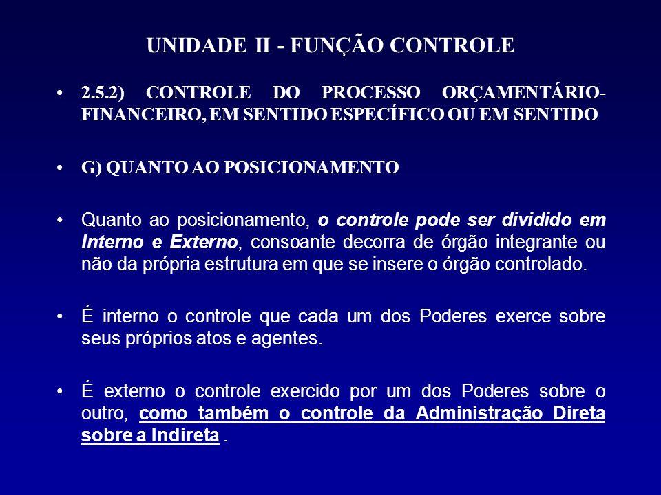 UNIDADE II - FUNÇÃO CONTROLE 2.5.2) CONTROLE DO PROCESSO ORÇAMENTÁRIO- FINANCEIRO, EM SENTIDO ESPECÍFICO OU EM SENTIDO G) QUANTO AO POSICIONAMENTO Qua